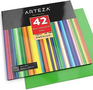 Arteza Hojas de vinilo autoadhesivo | 42 Láminas de papel de vinilo de colores surtidos | Hojas de PVC de 30,5 x 30,5cm | Material impermeable y apto para el lavavajillas