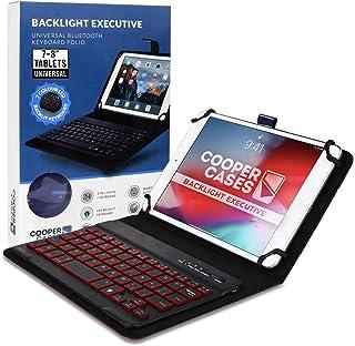 جراب لوحة مفاتيح Cooper Backlight التنفيذي للأجهزة اللوحية مقاس 17.78 سم - 20.32 سم   لوحة مفاتيح بإضاءة خلفية لاسلكية بتق...