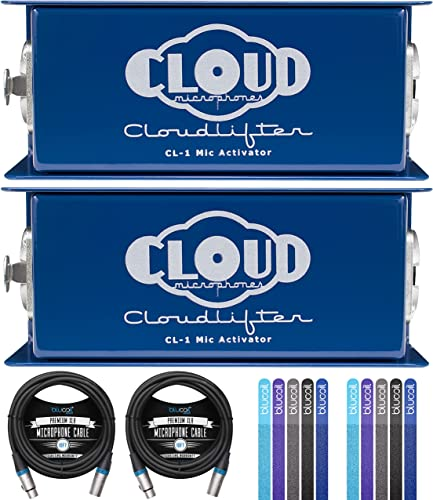 discount Cloud Microphones Cloudlifter CL-1 Mic Activators for Dynamic, Ribbon, and high quality Tube Mics (2-Pack) Bundle with Blucoil 10-FT Balanced XLR Cables outlet sale (2-Pack), and Reusable Cable Ties (10-Pack) sale