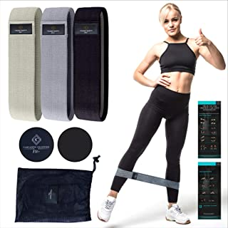 Cascading Diamonds Fit+ Fabric Resistance Bands with Core Sliders | Premium Non Slip Booty Bands for Leg & Glute Training ...
