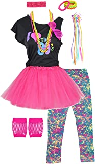 Fashion by Janestone Girls 80s T-Shirt Costume Outfit Accessories Headwear Skirt Leggings Gloves