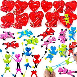 AMENON 28 Pack Valentines Party Favors Kids Heart Shape Sticky Toys Wall Climbing Men Filled Hearts Valentine's Day Cards ...