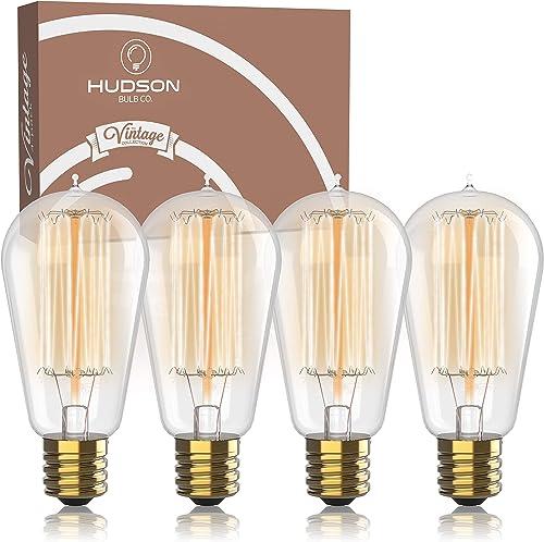 Antique Vintage Edison Bulb 4 Pack - 60 watt - Hudson Lighting 60 watt Vintage Light Bulb - ST58 - Squirrel Cage Fila...