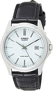 Casio Men's Silver Dial Leather Analog Watch - MTP-1183E-7ADF