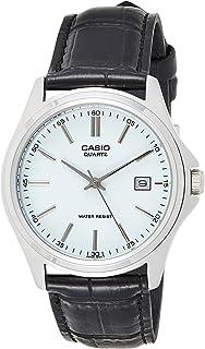 ساعة انالوج من كاسيو بسوار جلدي ومينا باللون الفضي للرجال - طراز MTP-1183E-7ADF