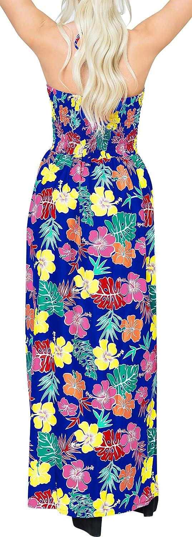 LA LEELA Women's Plus Size Beach Dress Hawaiian Camp Party Loungewear Printed E