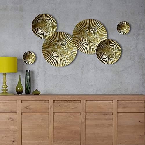 898869a903 Craftter Small Set of 6 Bright Gold and Silver Color Circles Metal Wall  Décor Hanging Large