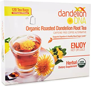 Organic Roasted Dandelion Root Tea (120 bags) Caffeine-Free Herbal Tea - Helps Improve Digestion and Immune System Support