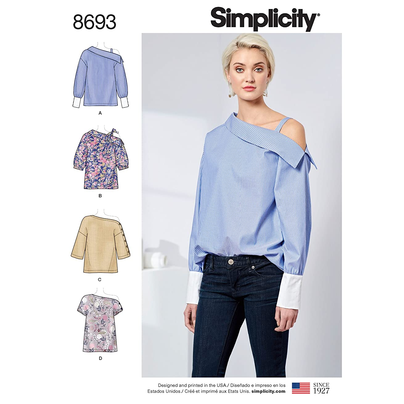Simplicity Creative Patterns US8693H5 Pattern 8693 Misses' One Shoulder Tops