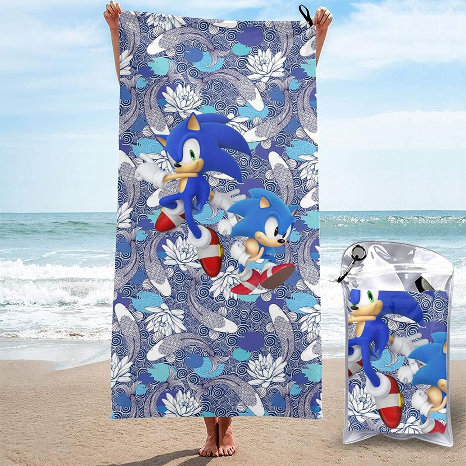 Ranking TOP15 Sonic-Hedgehog Beach Towel Special price Super Soft Microfiber Adults Quick Dr
