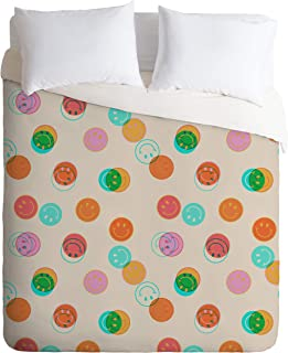 Society6 Doodle by Meg Smiley Face Stamp Print Full/Queen Comforter and 2 Pillow Shams Set, 88