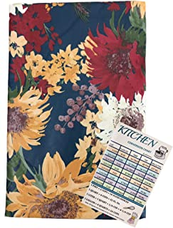 Fall Flowers Vinyl Tablecloth Flannel Backed Autumn Harvest Floral On Dark Blue Background Indoor Outdoor with Custom Magn...