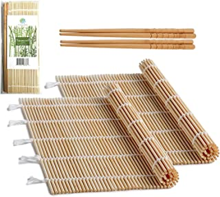 "Bamboo Sushi Rolling Mat with 2 Pairs of Chopsticks Natural Bamboo 9.5""x9.5"" 2 PCS Sushi Making Kit"