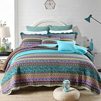 NEWLAKE Striped Jacquard Style Cotton 3-Piece Patchwork Bedspread Quilt Sets, King Size