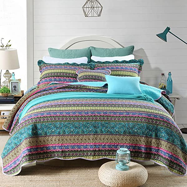 NEWLAKE Striped Jacquard Style Cotton 3 Piece Patchwork Bedspread Quilt Sets Queen Size
