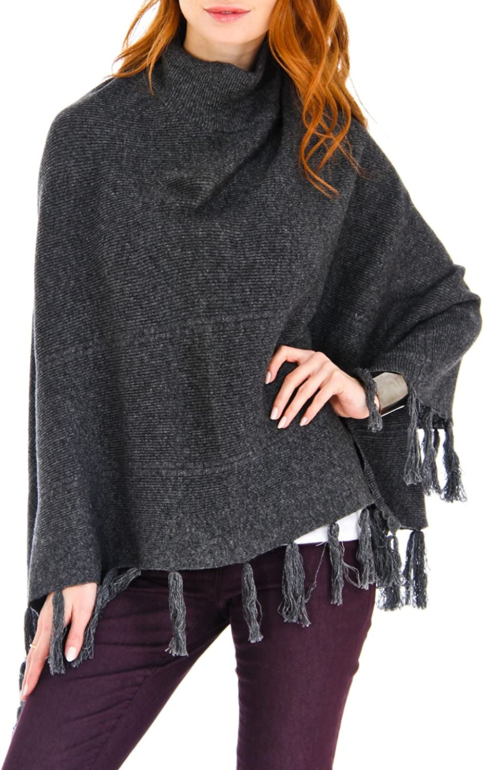 100% Mongolian Cashmere Turtle Neck Poncho with Fringes