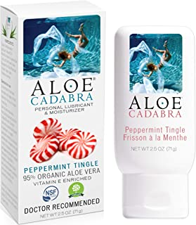 Aloe Cadabra Organic Personal Lube Flavored Peppermint, Best Natural Sex Lubricant & Natural Oral Gel, 2.5 Ounce