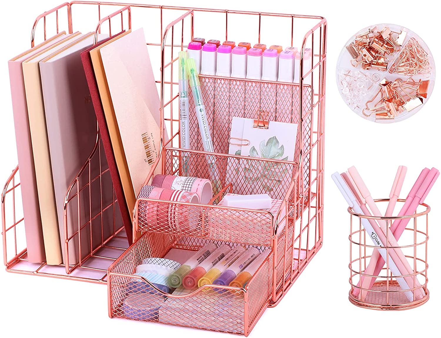 Rose Gold Desk Organizer with 6 Compartments, Mesh Metal Home Office Supplies Cute Pen Holder with Accessories, Magazine Notepads Storage Stationary Set for Women Girls