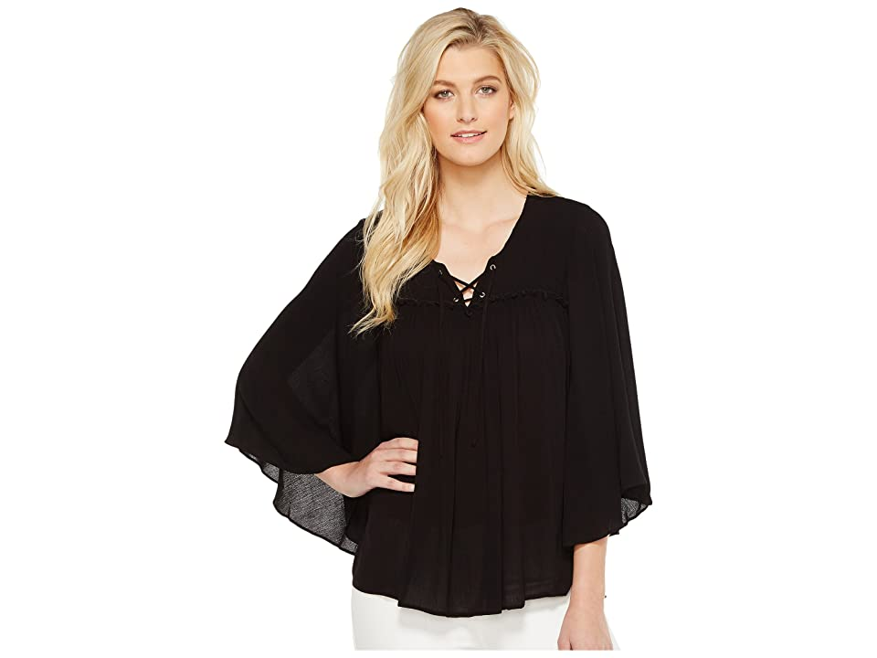 Karen Kane Lace-Up Bell Sleeve Top (Black) Women