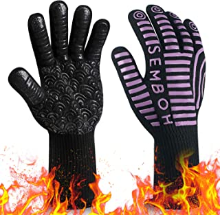 932? Extreme Heat Resistant BBQ Gloves, Food Grade Kitchen Oven Mitts - Flexible Oven Gloves, Silicone Non-slip Cooking Hot Glove for Grilling, Baking
