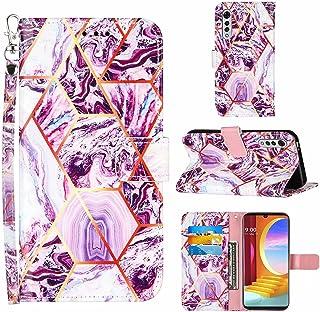 Lijc Kompatibel med LG Velvet 2 Pro Fodral Premium PU Läderplånbok Geometrisk Marmordesign Magnetisk Stängning Kickstand-k...