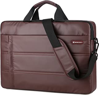 BRINCH Laptop Bag 15.6 Inch Messenger Bag Shoulder Bag Waterproof Easy Clean Business Briefcase Slim Laptop Carrying Sleeve Case with Strap for Men Women Fits 13-15 Inch Laptop/MacBook/Notebook, Brown
