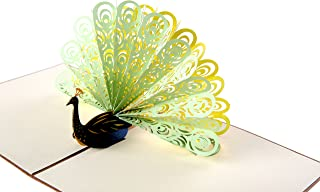 HeartMoon 3D Pop Up Cards Green Peacock Greeting Cards Thank You Cards Birthday Cards for Mother Girls Anniversary Cards with Envelope