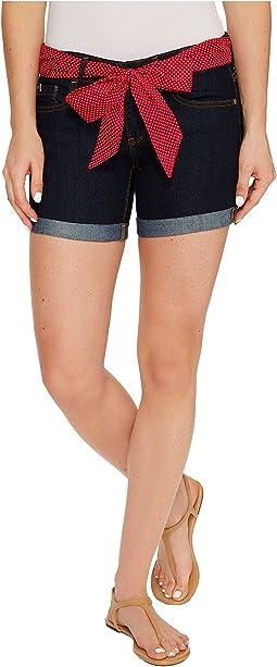 Belted Stretch Denim Five-Pocket Shorts