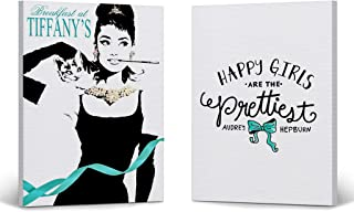Smile Art Design Audrey Hepburn Wall Art Quote with Cat Two Piece Canvas Print Set Teal Blue Breakfast at Tiffany`s Modern Framed Living Room Bedroom Home Decor Ready to Hang 12x8