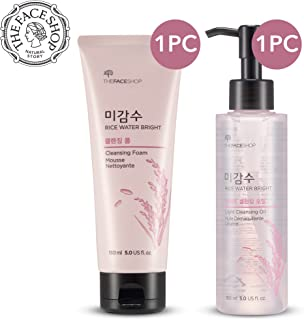 [THEFACESHOP] Rice Water Bright Cleansing Foam (150 mL/5.0 Oz) & Light Cleansing Oil (150 mL /5 Oz) Set, Moisturizing And Brightening Care For All Skin Types