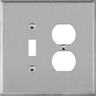 ENERLITES Combination Toggle Light Switch and Duplex Receptacle Outlet Metal Midway Size Wall Plate