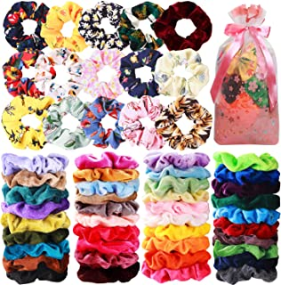 54 Pcs Hair Scrunchies 40 Velvet Hair Scrunchies 14 Chiffon Flower Hair Scrunchies Hair Elastic Scrunchy Ties Ropes Scrunchie for Women or Girls Hair Accessories for Christmas Thanksgiving
