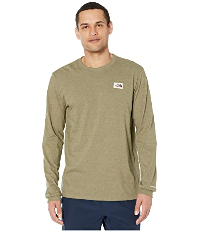 The North Face Long Sleeve Recycled Materials T-Shirt (Burnt Olive Green Heather) Men
