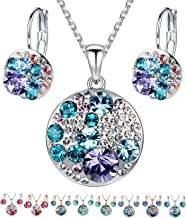 Leafael Ocean Bubble Women's Jewelry Set Made with Swarovski Crystals Costume Fashion Pendant Necklace Earring Set, Silver Tone or 18K Rose Gold Plated, 18