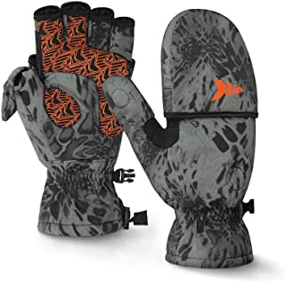 KastKing PolarBlast Ice Fishing Gloves Convertible Mittens – Cold Weather Fishing Mittens and Fingerless Gloves with 3M Th...