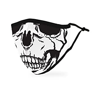 Weddingstar Washable Cloth Face Mask Reusable and Adjustable Protective Fabric Face Cover w/Dust Filter Pocket - Skull