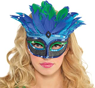 ブルーミスティークフェザーマスカレードマスク
