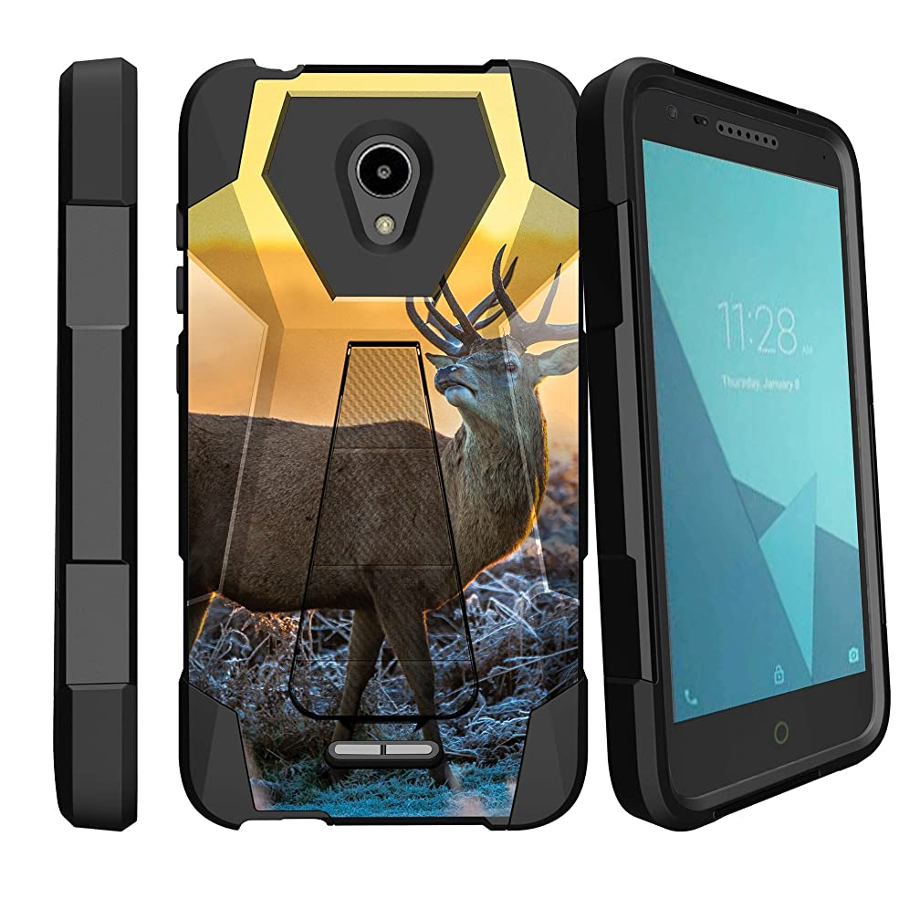 MINITURTLE Cover Compatible with Alcatel Verso/CameoX / Raven/Fiji / idealXcite [Kickstand Shockproof Defender Case] Non-Slip Dual Layer Kickstand Cover - Grazing Deer Sunset