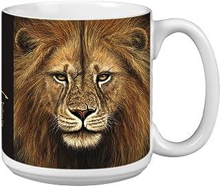 Tree-Free Greetings Extra Large 20-Ounce Ceramic Coffee Mug, Lion Themed Wildlife Art (XM29713)
