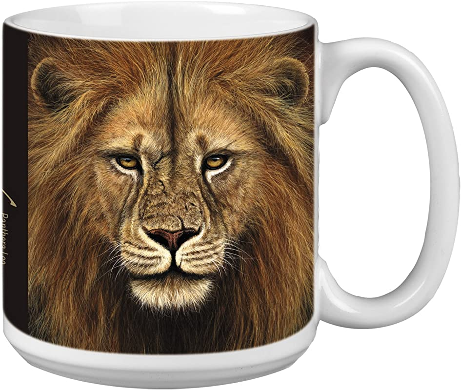Tree Free Greetings Extra Large 20 Ounce Ceramic Coffee Mug Lion Themed Wildlife Art XM29713