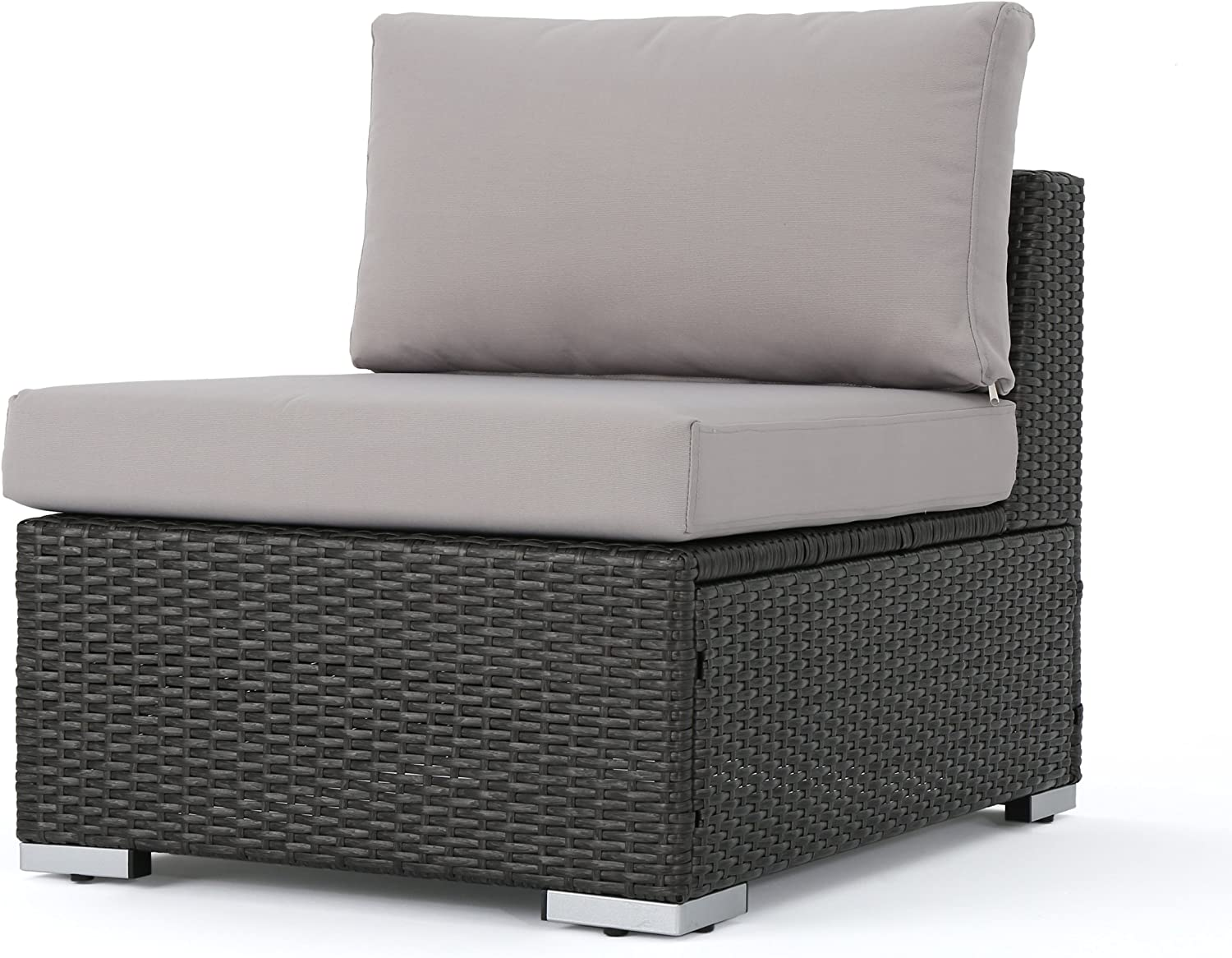 Christopher Knight Home Santa Rosa Outdoor Wicker Armless Sectional Sofa Seat with Aluminum Frame and Water Resistant Cushions, Grey / Silver
