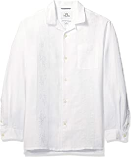 Amazon Brand - 28 Palms Men's Relaxed-Fit Long-Sleeve 100% Linen Embroidered Guayabera Shirt