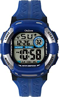 Kids Watch Boys Digital 7-Color Flashing Light Water Resistant 100FT Alarm for Boys Age 7-10 (Blue)