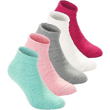 Lot de 6 paires de chaussettes dhiver pour femme antid/érapantes en velours de haute qualit/é. /élastiques