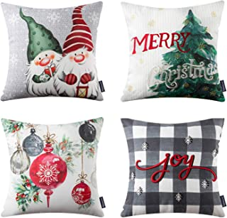 Phantoscope Christmas Pillow Covers Buffalo Plaid Embroidered Joy Pillowcase Xmas Decorative Christmas Tree, Winter Decorated Christmas Lantern 18 x 18 inch 45 x 45 cm