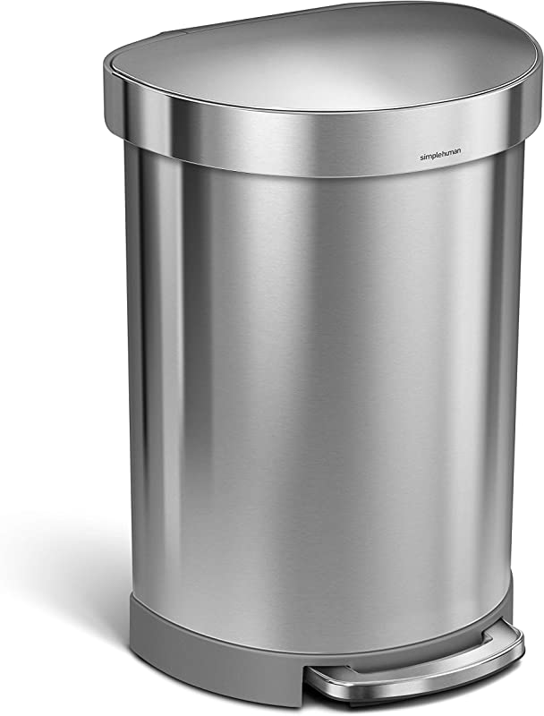 Simplehuman 60 Liter 16 Gallon Stainless Steel Semi Round Step Trash Can With Liner Rim Brushed Stainless Steel