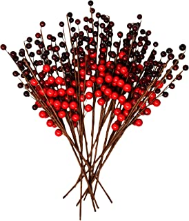 Gift Boutique Christmas Red Berry Picks for Holiday Decorations Set of 12 for Christmas Decor, Crafts, Mantel, Ornaments, Wreath, Garland or Tree - 16 Inch Faux Fake Winter Berries Stems