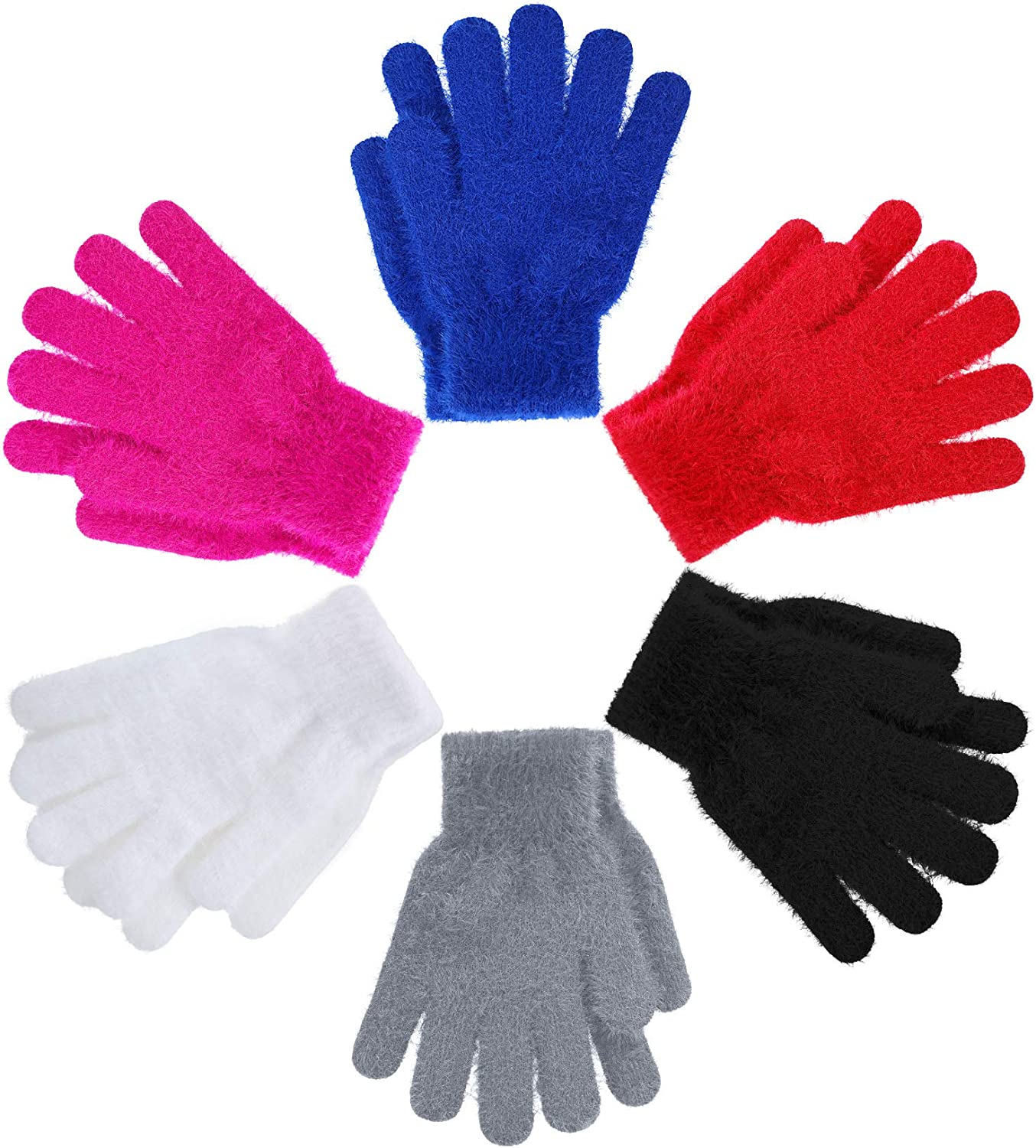 6 Pairs Kids Magic Stretch Gloves Winter Soft Knitted Gloves Toddler Colorful Warm Gloves