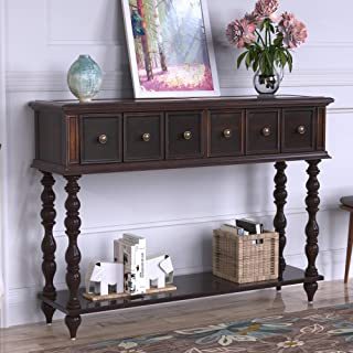 Distressed Console Table Entryway Table Antique-Inspired Design Sofa Table with Two Exquisite Drawers and Bottom Shelf,Espresso Brown