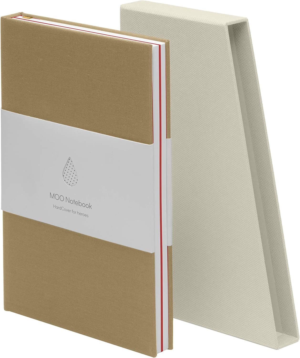 MOO Dotted Hardcover Now on sale Notebook – Lay Journa Premium Flat Tan 5 ☆ popular